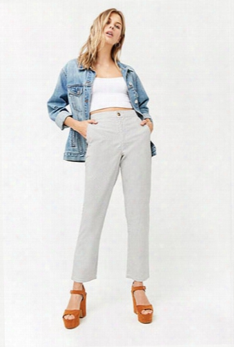 Pinstripe High-waist Pants