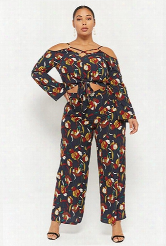 Plus Size Floral Print Wide-leg Pants