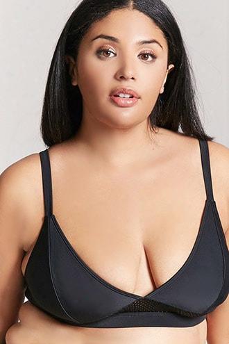 Plus Size Mesh Trim Bikini Rise To The ~ Of