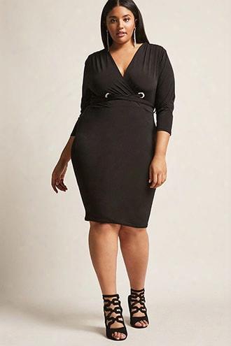 Plus Size Plunging Surplice Dress