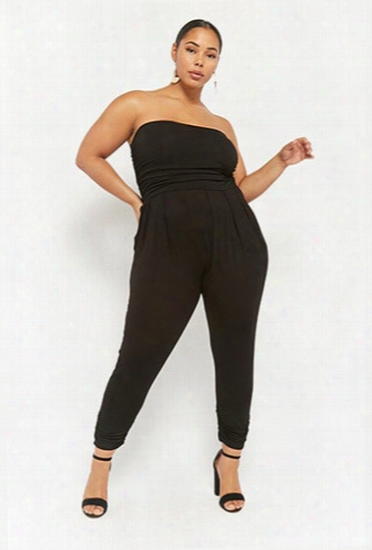 Plus Size Ruched Strapless Jumpsuit