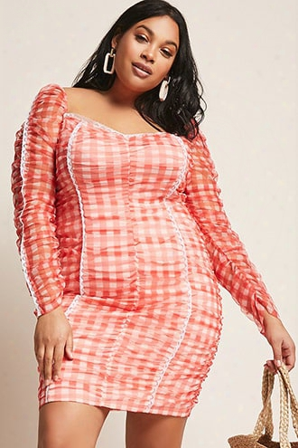 Plus Size Sheer Mesh Gingham Dress
