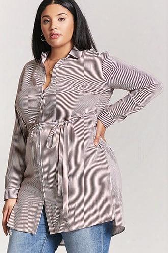 Plus Size Stripe Shirt Dress