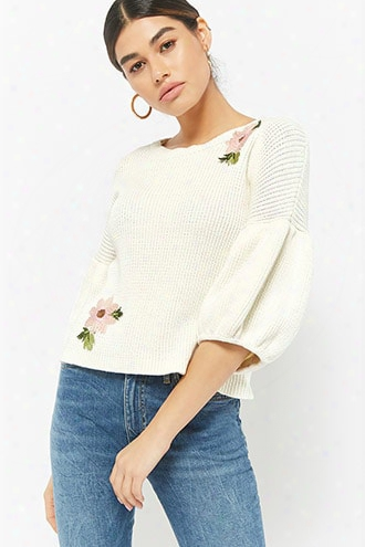 Ribbed Floral Applique Top