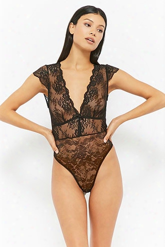Sheer Cutout Lace Teddy