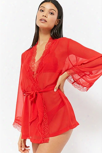 Sheer Lace-trim Chiffon Robe
