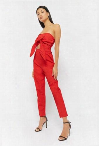 Textured Tie-front Strapless Jumpsuit