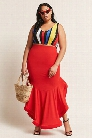 Plus Size Flounce Maxi Skirt