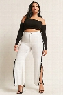 Plus Size Snap-Button Stripe Pants