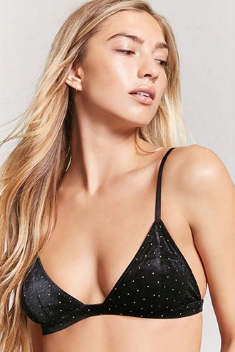 Velvet Metallic Pin Dot Bralette