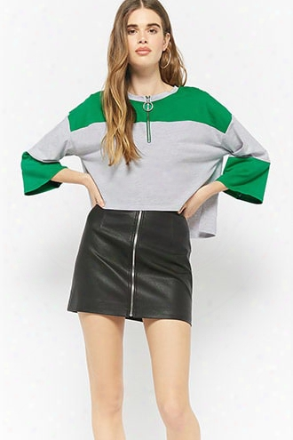 Colorblock Pull-ring Crop Top