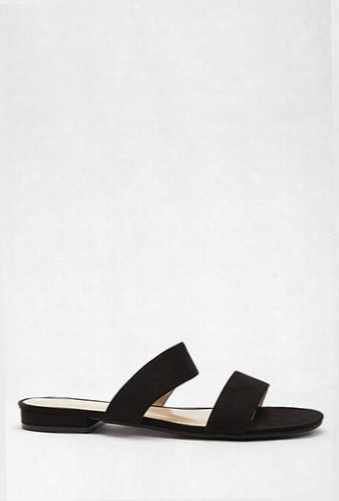 Faux Suede Double-strap Slides