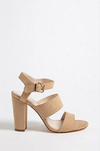 Faux Suede Open-toe Heels