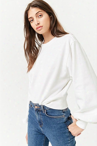 Fleece Balloon-sleeve Pullover