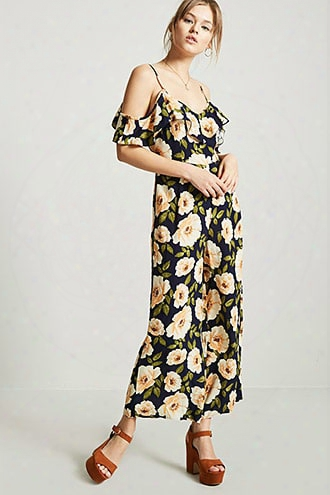 Floral Open-shoulder Jumpsuit