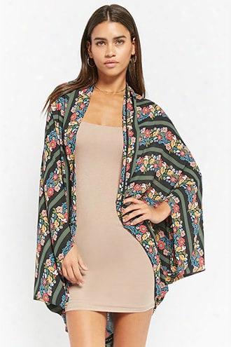 Floral-stripe Kimono