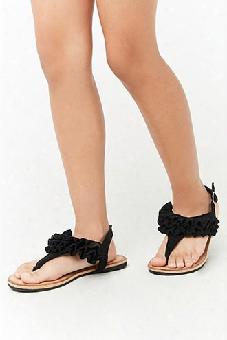 Girls Faux Suede Ruffle Sandals (kids)