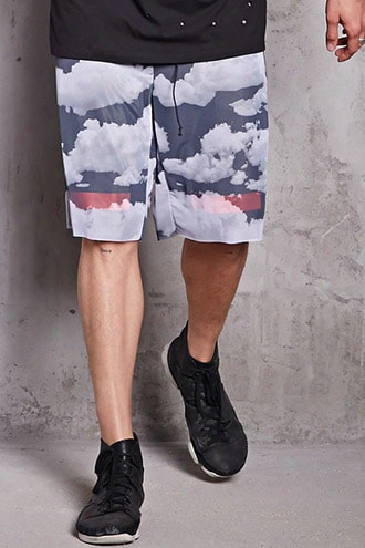 Mesh Knit Cloud Print Shorts
