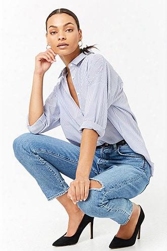 Pinstripe Curved-hem Shirt