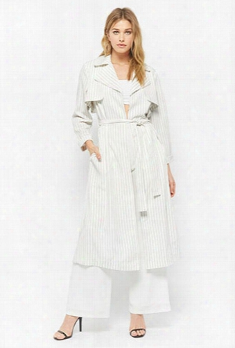 Pinstriped Open-front Trench Coat