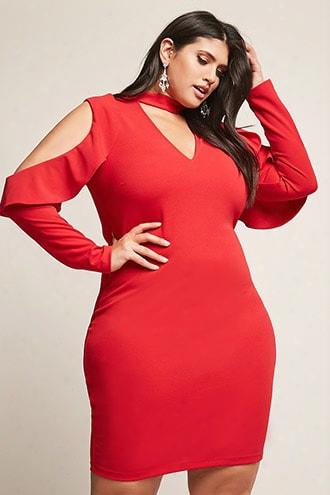Plus Size Cutout Open-shoulder Bodycon Dress