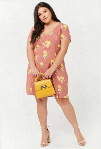 Plus Size Floral Lemon Print Shift Dress