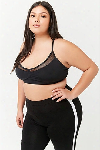 Plus Size Low Impact- Fishnet-insert Sports Bra