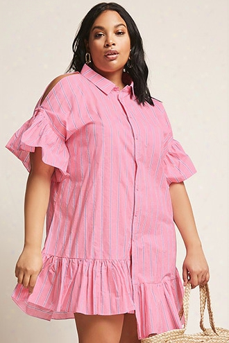 Plus Size Stripe Open-shoulder Shirt Dress