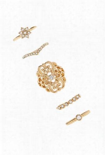 Rhinestone-embellished Ring Set