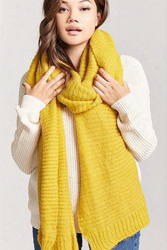Ribbed Knit Oblong Scarf