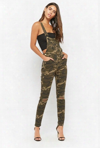 Ripped-knee Camo Overalls