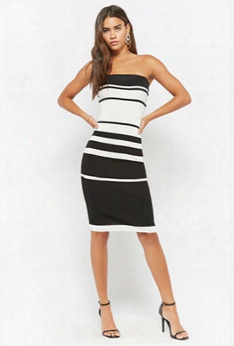 Striped Ribbed Bodycon Tube Dress