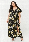 Plus Size Floral Surplice M-Slit Maxi Dress