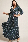 Plus Size Stripe Surplice Maxi Dress