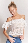 Sheer Open-Shoulder Lace Crop Top