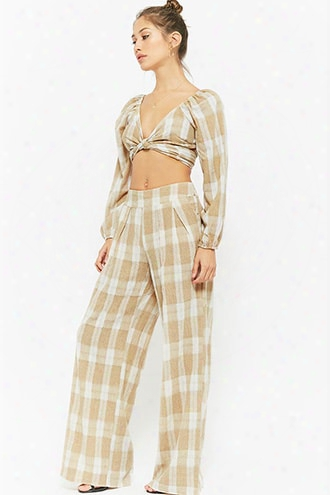 Buffalo Plaid Off-the-shoulder Gauze Crop Top & Wide-leg Pants Set
