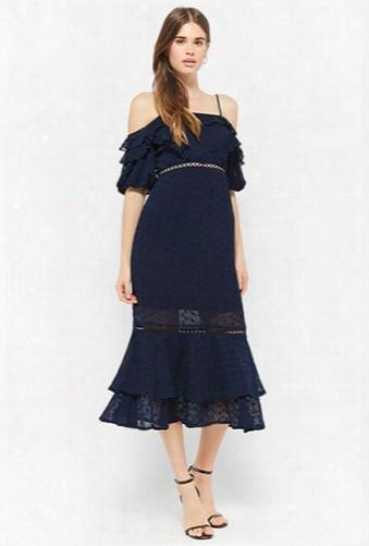 Dark Pink Ruffle Micropinhole Maxi Dress