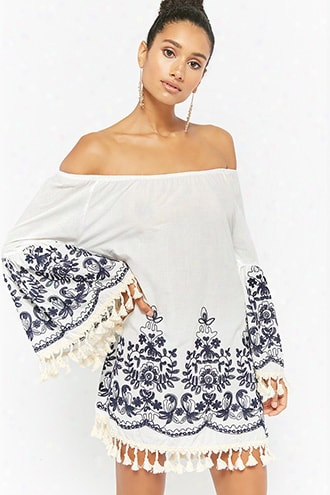 Embroidered Off-the-shoulder Tunic