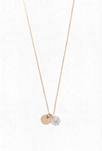Faux Gem & Disc Pendant Necklace