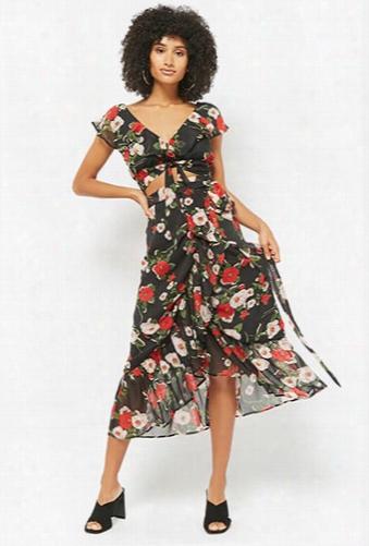 Floral Crop Top & Wrap Skirt Set