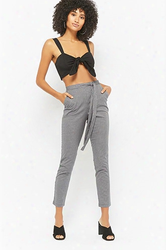Gingham Tie-waist Pants