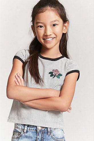 Girls Stripe Rose Graphic Ringer Tee (kids)
