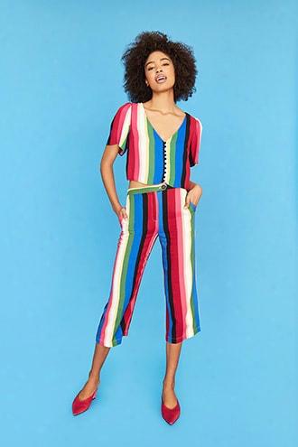 Multicolor-stripe Capri Pants