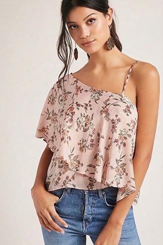 One-shoulder Satin Floral Top