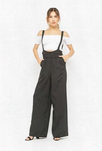 Pinstriped Belted Suspender Jumpsuit