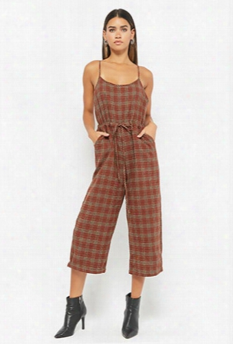 Plaid Culotte Jumpsuit