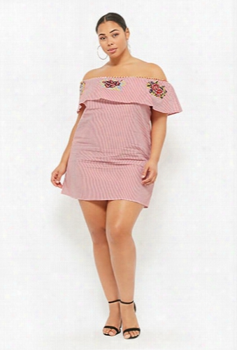 Plus Size Embroidered Striped Off-the-shoulder Dress