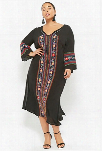 Plus Size Floral Embroidered Dress