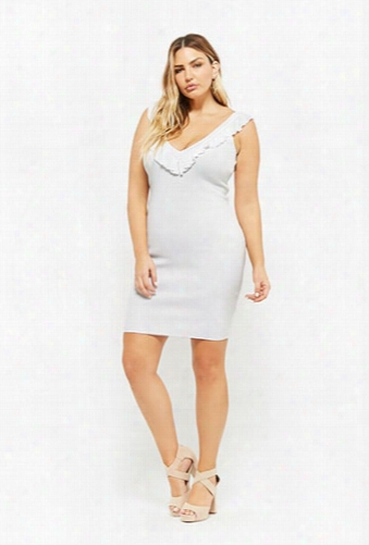 Plus Size Ribbed Ruffle Dress
