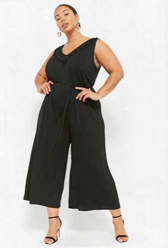 Plus Size Ruffled Drop-crotch Jumpsuit